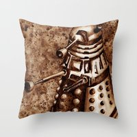 dalek Throw Pillows featuring Dalek by Redeemed Ink by - Kagan Masters
