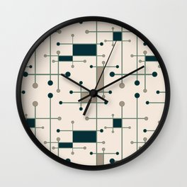 Intersecting Lines in Dark Teal, Tan and Navy Wall Clock