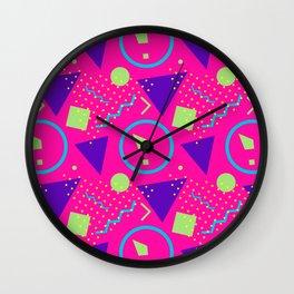 Memphis abstract geometric pattern Wall Clock