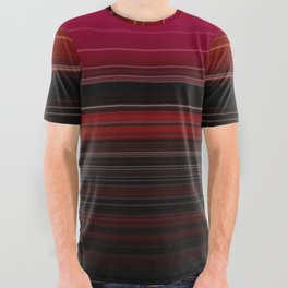 Rich Red Wine Striped Pattern All Over Graphic Tee