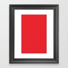 White polka dots on red Framed Art Print