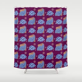 blue birds pattern on gold and purple Shower Curtain