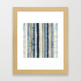 Distressed Blue and White Watercolor Stripe Framed Art Print
