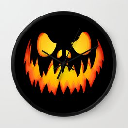 Evil Halloween pumpkin Wall Clock