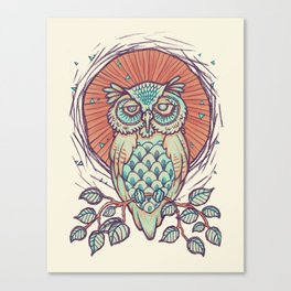 Owl on branch Canvas Print