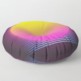Retro 80's Neon Sunrise Floor Pillow