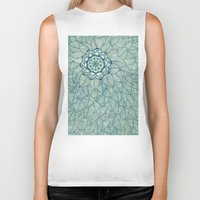 navy Biker Tanks featuring Emerald Green, Navy & Cream Floral & Leaf doodle by micklyn