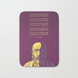 Lao Tzu Inspirational Quote: Watch your thoughts Bath Mat