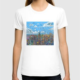 new york city skyline colorful T-shirt