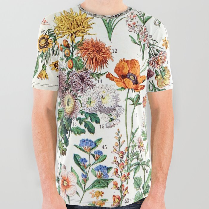 Adolphe Millot - Fleurs B - French vintage poster All Over Graphic Tee