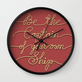 Be the Captain of your own Ship (Red and Beige) Wall Clock