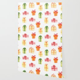 Bright Hand Drawn Watercolor Gift Package Pattern Wallpaper