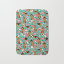 Bloodhound floral dog breed dog pattern pet friendly pet portraits custom dog gifts mint Bath Mat