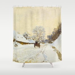 Claude Monet Impressionist Landscape Oil Painting A Cart on the Snowy Road at Honfleur Shower Curtain
