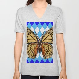 ABSTRACTED  BROWN SPICE  MONARCHS BUTTERFLY  &   BLUE-WHITE HARLEQUIN PATTERN Unisex V-Neck