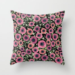 Mistletoe Floral Christmas 2017, New Year 2018 by Magenta Rose Designs Throw Pillow