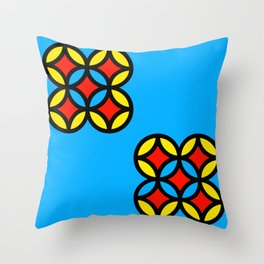 Colored Circles on Light Blue Board Throw Pillow