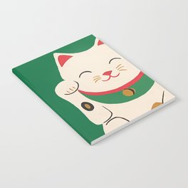 Green Lucky Cat Maneki Neko Notebook