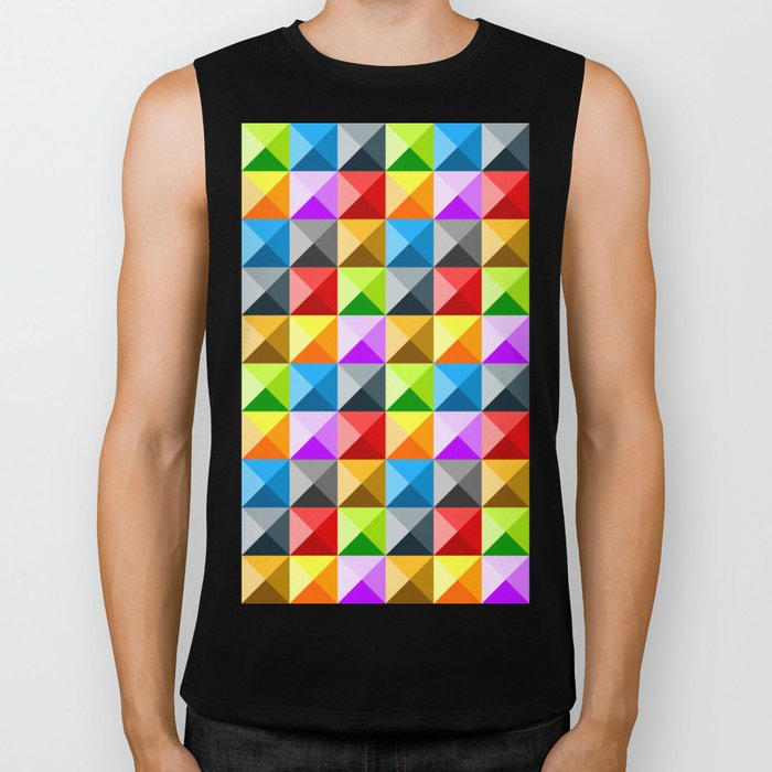 Colorful quarter square triangle pattern Biker Tank