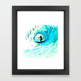 Lone Surfer Tubing the Big Blue Wave Framed Art Print