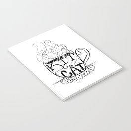 Kittea Cat - Tea Lover - Cat Lover - Mug Cup Lettering - Line Art Notebook
