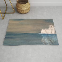 Floating Feather. Abstract Painting by Jodi Tomer. Abstract Feather on Water. Rug