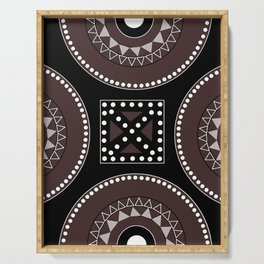 African tribal geometric decor, black, brown, white. Serving Tray
