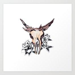 Bull Skull & Roses Boho Watercolor Art Print