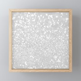 Chic elegant glamour white faux glitter Framed Mini Art Print