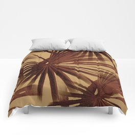 Burgundy and Coffee Tropical Beach Palm Vector Comforters