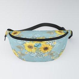 Beautiful Blue & Yellow Sunflowers Fanny Pack