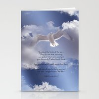 bible verses Stationery Cards featuring Seagull with Matthew 6:26-26 Verses by Photos and Images by Corri
