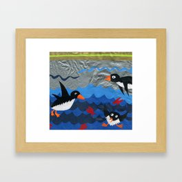 Penguin Vinyl Cut Collage Framed Art Print