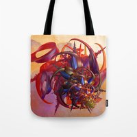 sci fi Tote Bags featuring Sci-fi insect by Gaspar Avila