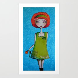 The Enchanted Redhead and her Flower Art Print