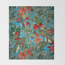 Vintage & Shabby Chic - Tropical Birds and Orchid  Aloha Jungle Throw Blanket