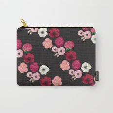 Black & Flowers Carry-All Pouch