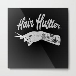 Hair Hustler Typeface Design With Scissors Metal Print