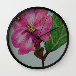 Japanese camellia, camellia, botanical art, flower, pink flower, Wall Clock
