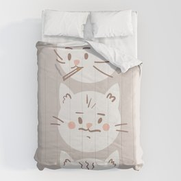 Cute cat brothers illustration - white cats on a beige background Comforters
