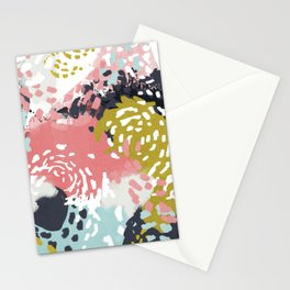Athena - Abstract, pink, pastel, yellow, blue painting, abstract cell phone case, painterly design Stationery Cards