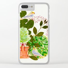 GREENERY, BIRDS AND BERRIES Clear iPhone Case