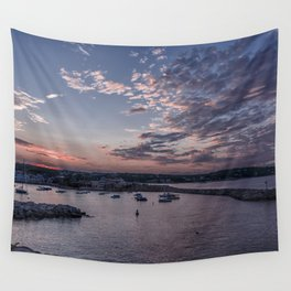 Sunset over Rockport Harbor Wall Tapestry