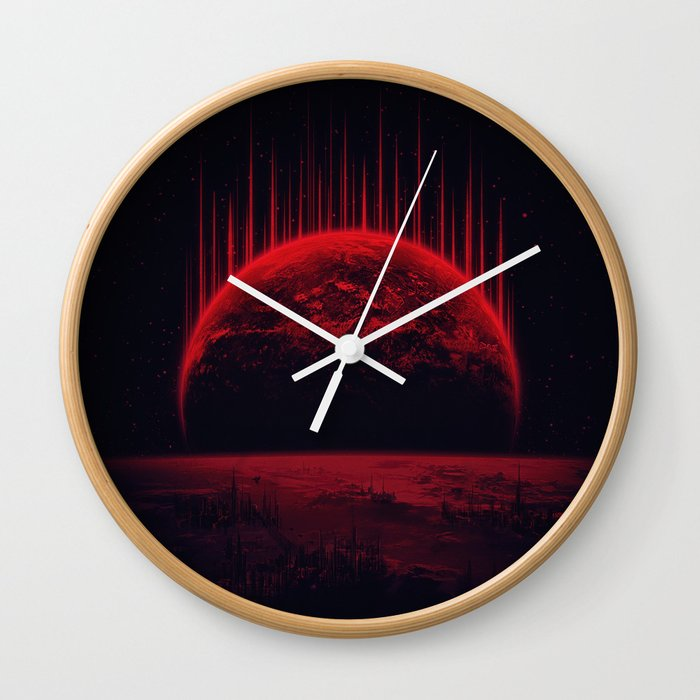 Lost Home! Colosal Future Sci-Fi Deep Space Scene in diabolic Red Wall Clock