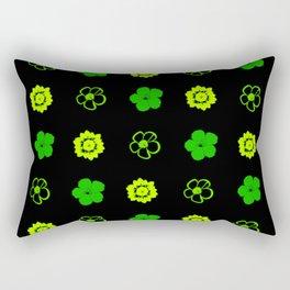Green Flower Pattern Rectangular Pillow