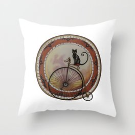 Cat On Wheels Throw Pillow