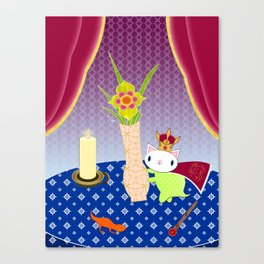 King of Wands on the Table Again Canvas Print