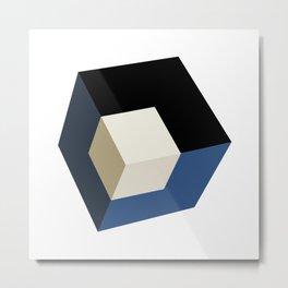 3D effect cube Metal Print