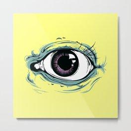 """I See You"" Yellow Pastel Pattern Metal Print"