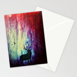 Mystical Space Forest Stationery Cards
